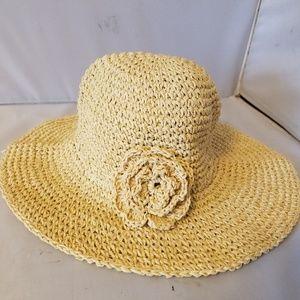 Baby Gap Girls Straw Bucket Hat Flower S/M